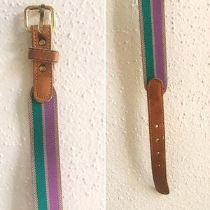 Accessories - Vintage Leather/Elastic Striped Belt 🍆